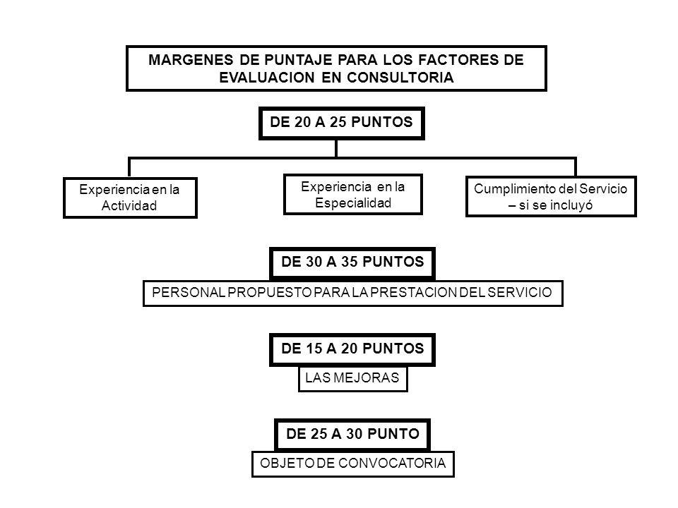 MARGENES DE PUNTAJE PARA LOS FACTORES DE EVALUACION EN CONSULTORIA