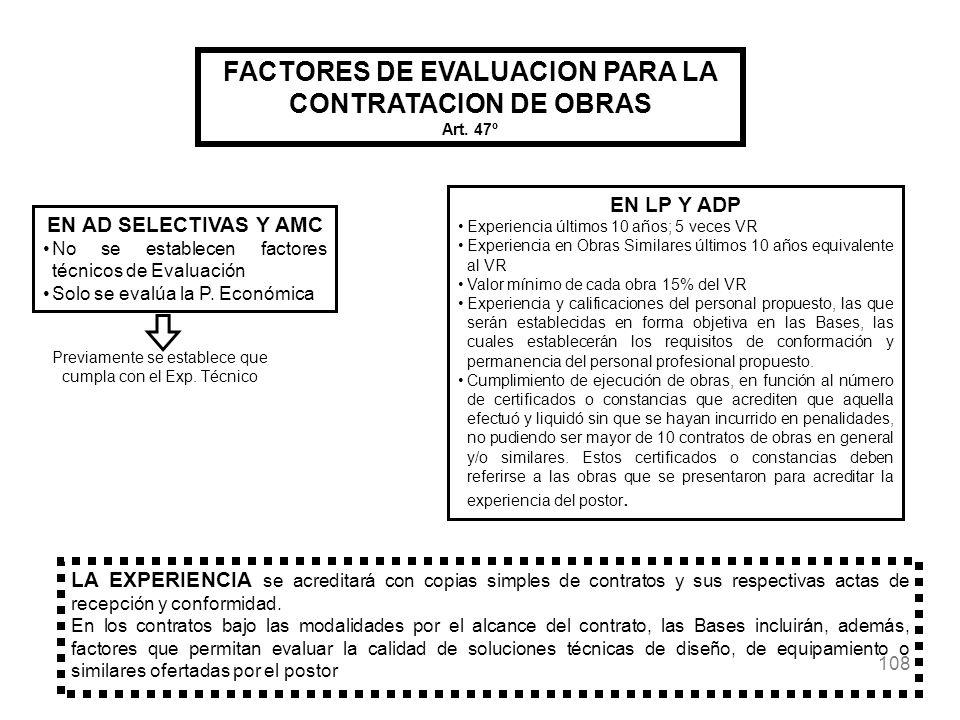 FACTORES DE EVALUACION PARA LA CONTRATACION DE OBRAS