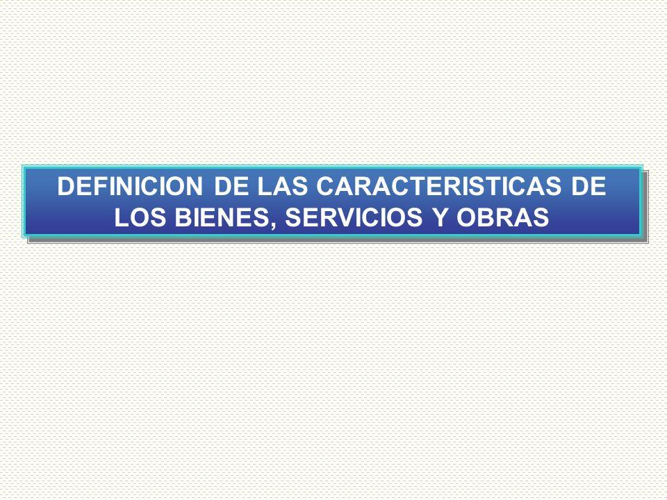 DEFINICION DE LAS CARACTERISTICAS DE LOS BIENES, SERVICIOS Y OBRAS