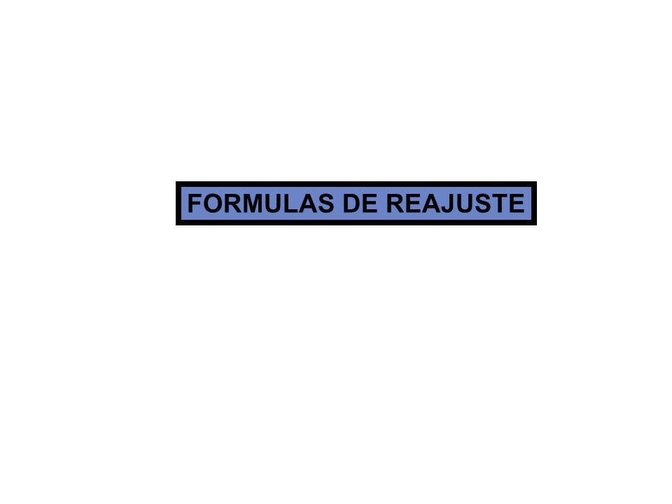FORMULAS DE REAJUSTE