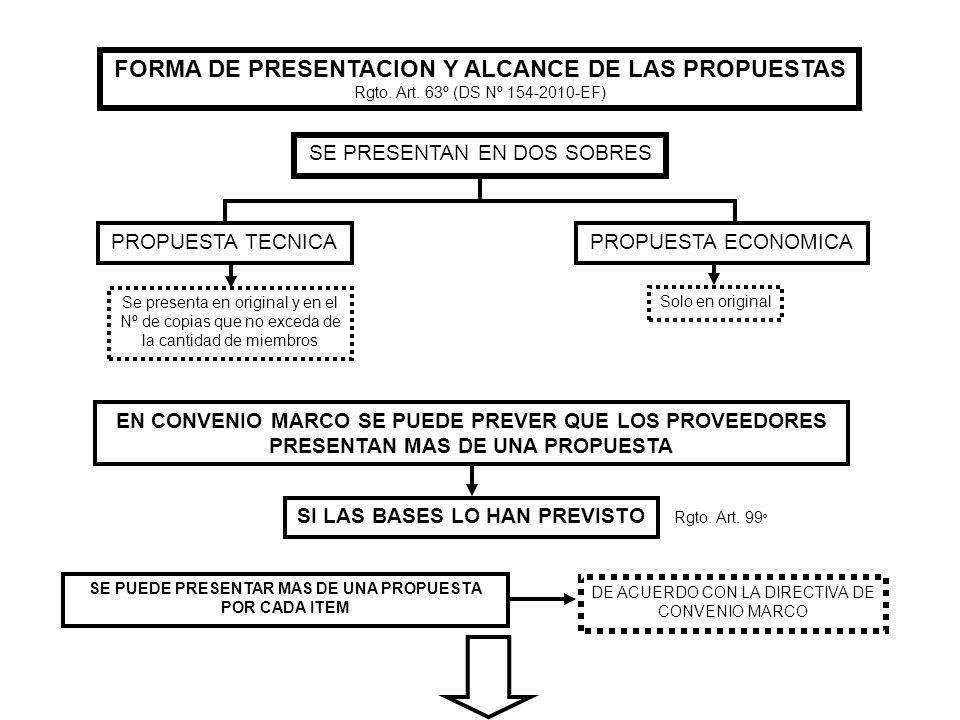 FORMA DE PRESENTACION Y ALCANCE DE LAS PROPUESTAS