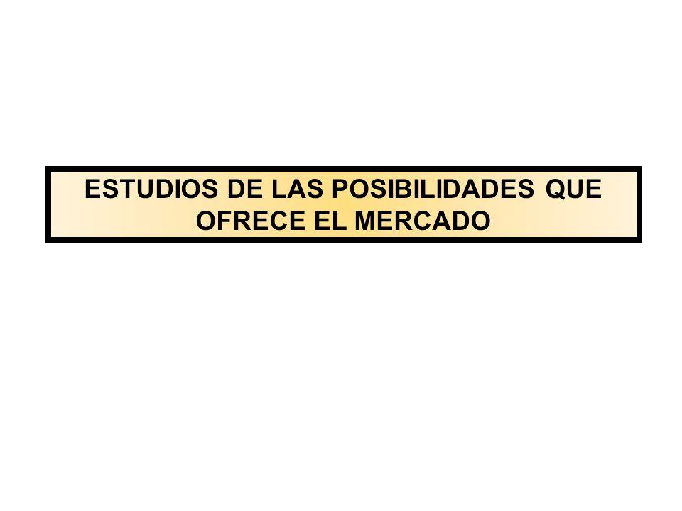 ESTUDIOS DE LAS POSIBILIDADES QUE OFRECE EL MERCADO