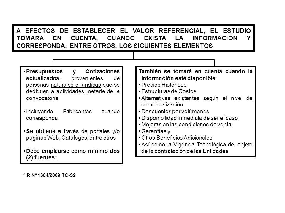 A EFECTOS DE ESTABLECER EL VALOR REFERENCIAL, EL ESTUDIO TOMARA EN CUENTA, CUANDO EXISTA LA INFORMACIÓN Y CORRESPONDA, ENTRE OTROS, LOS SIGUIENTES ELEMENTOS