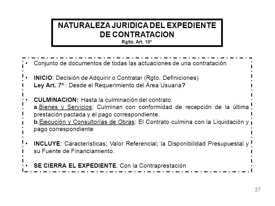NATURALEZA JURIDICA DEL EXPEDIENTE DE CONTRATACION