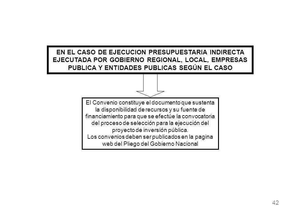 EN EL CASO DE EJECUCION PRESUPUESTARIA INDIRECTA EJECUTADA POR GOBIERNO REGIONAL, LOCAL, EMPRESAS PUBLICA Y ENTIDADES PUBLICAS SEGÚN EL CASO
