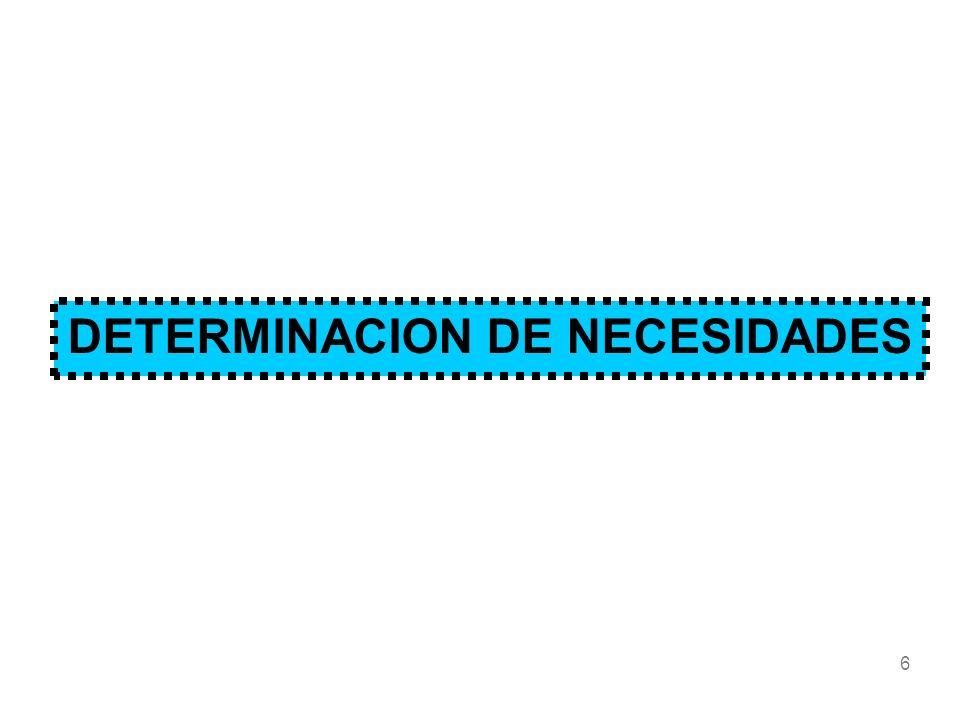 DETERMINACION DE NECESIDADES