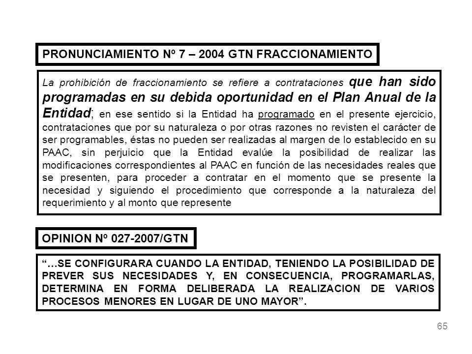 PRONUNCIAMIENTO Nº 7 – 2004 GTN FRACCIONAMIENTO