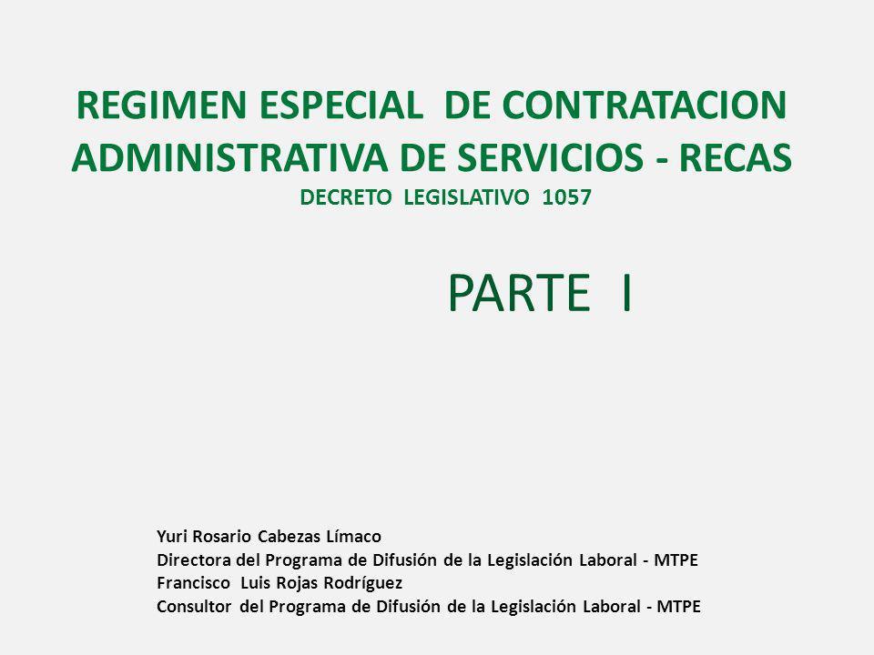 REGIMEN ESPECIAL DE CONTRATACION ADMINISTRATIVA DE SERVICIOS - RECAS