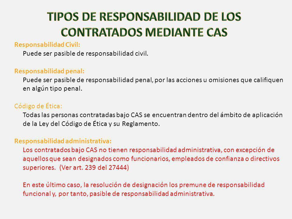 TIPOS DE RESPONSABILIDAD DE LOS CONTRATADOS MEDIANTE CAS