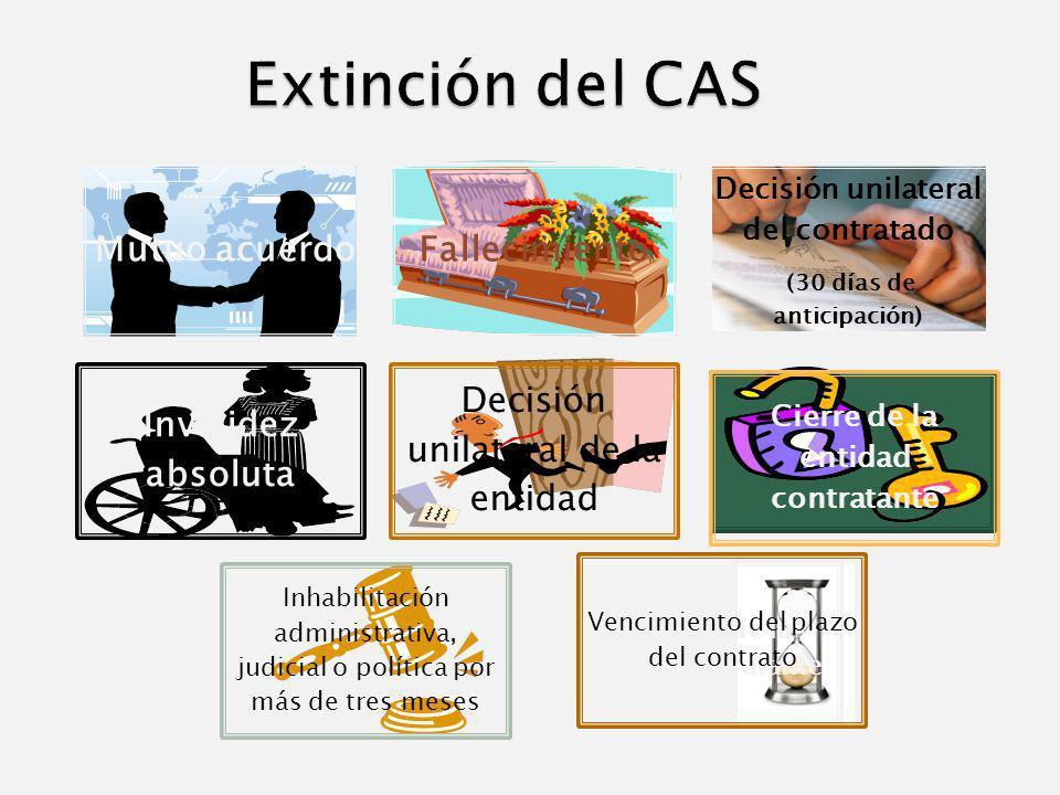 Extinción del CAS Mutuo acuerdo Fallecimiento Invalidez absoluta