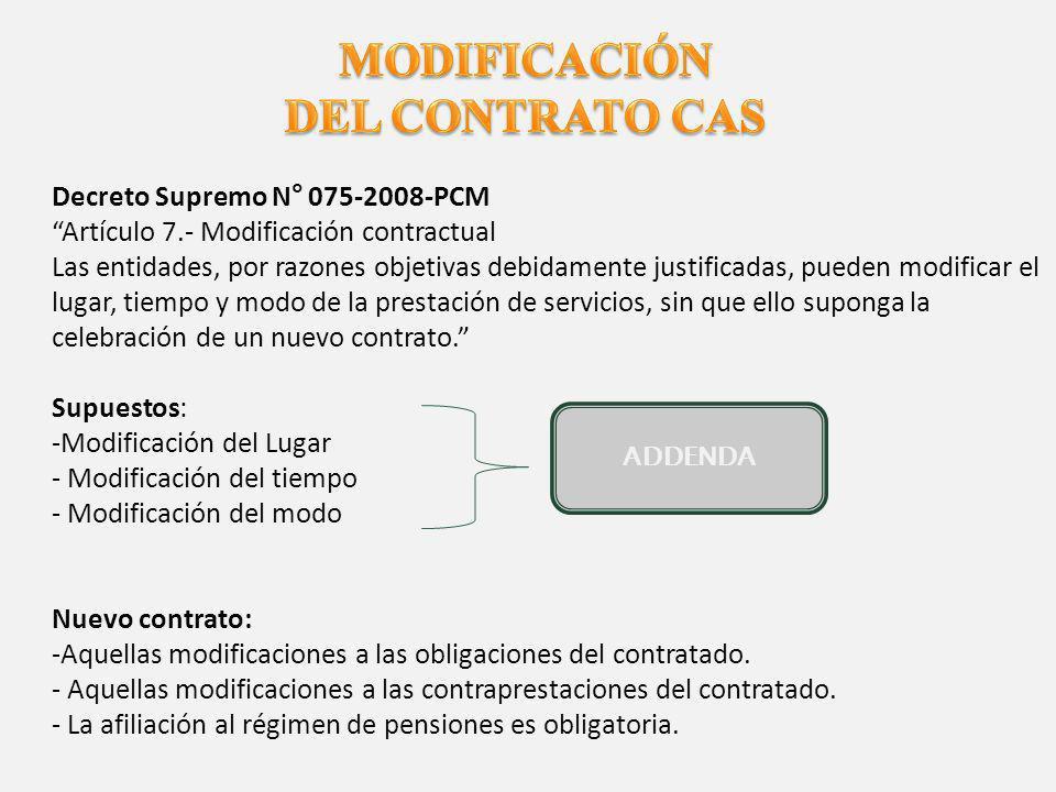 MODIFICACIÓN DEL CONTRATO CAS