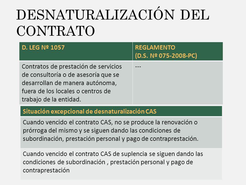 DESNATURALIZACIÓN DEL CONTRATO