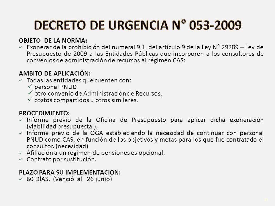 DECRETO DE URGENCIA N° 053-2009