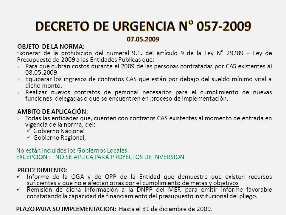 DECRETO DE URGENCIA N° 057-2009 07.05.2009