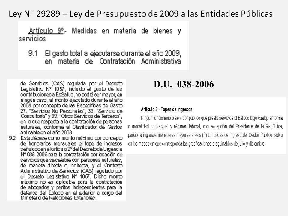 Ley N° 29289 – Ley de Presupuesto de 2009 a las Entidades Públicas