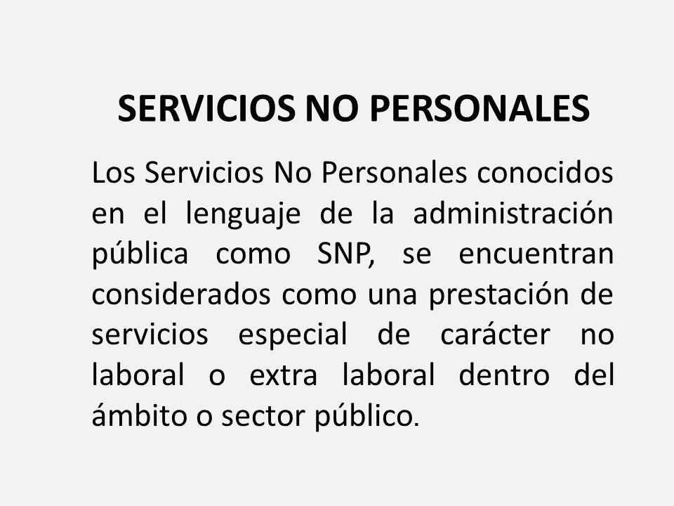 SERVICIOS NO PERSONALES