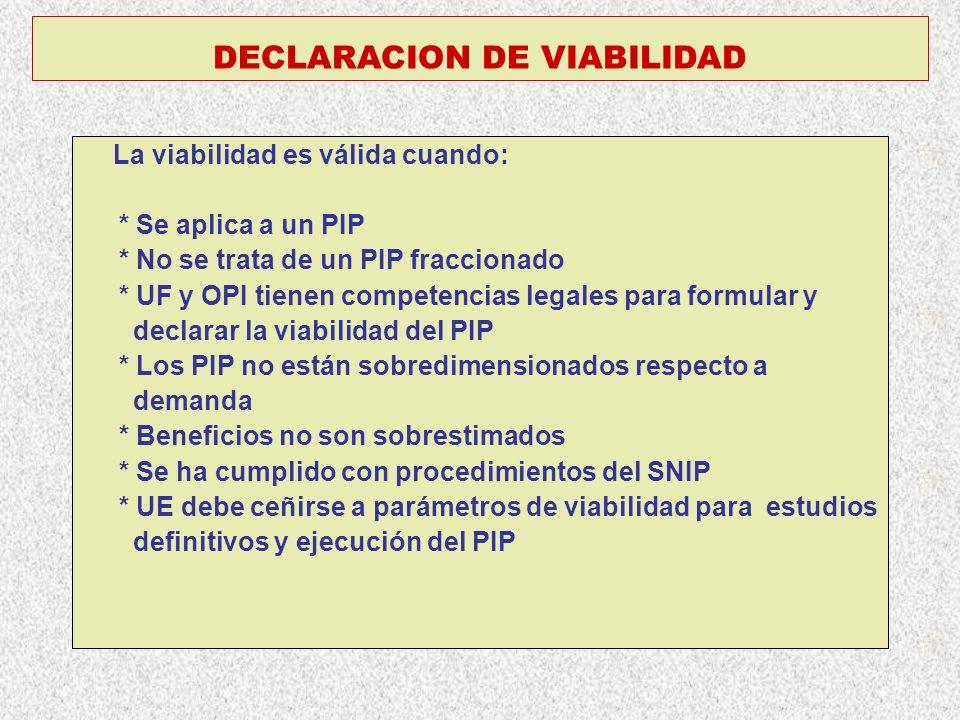 DECLARACION DE VIABILIDAD