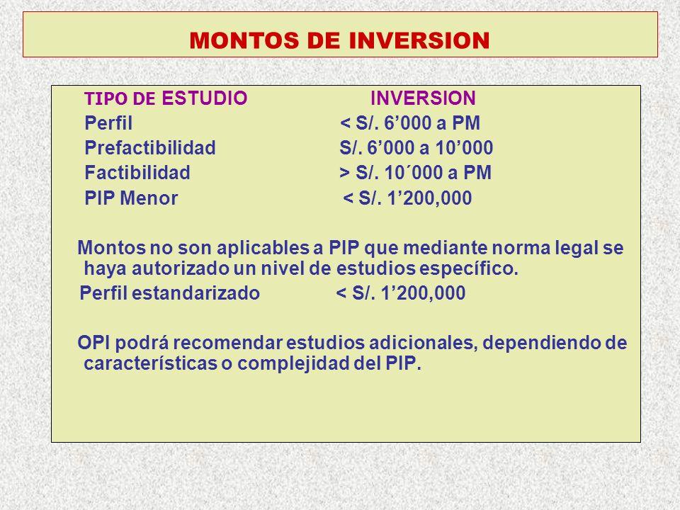 MONTOS DE INVERSION Prefactibilidad S/. 6'000 a 10'000