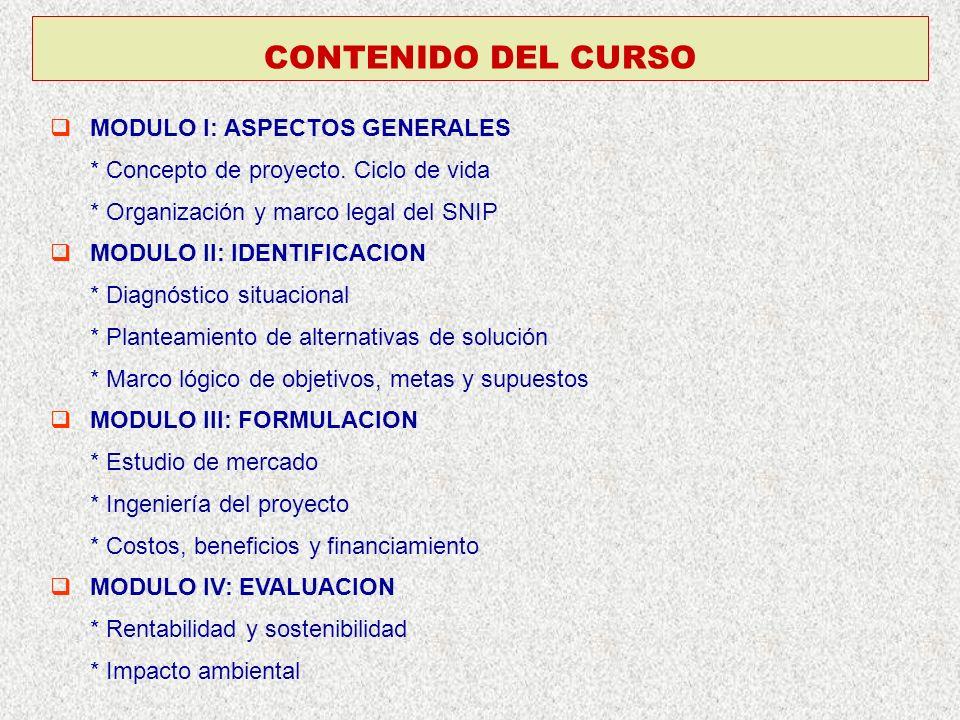 CONTENIDO DEL CURSO MODULO I: ASPECTOS GENERALES