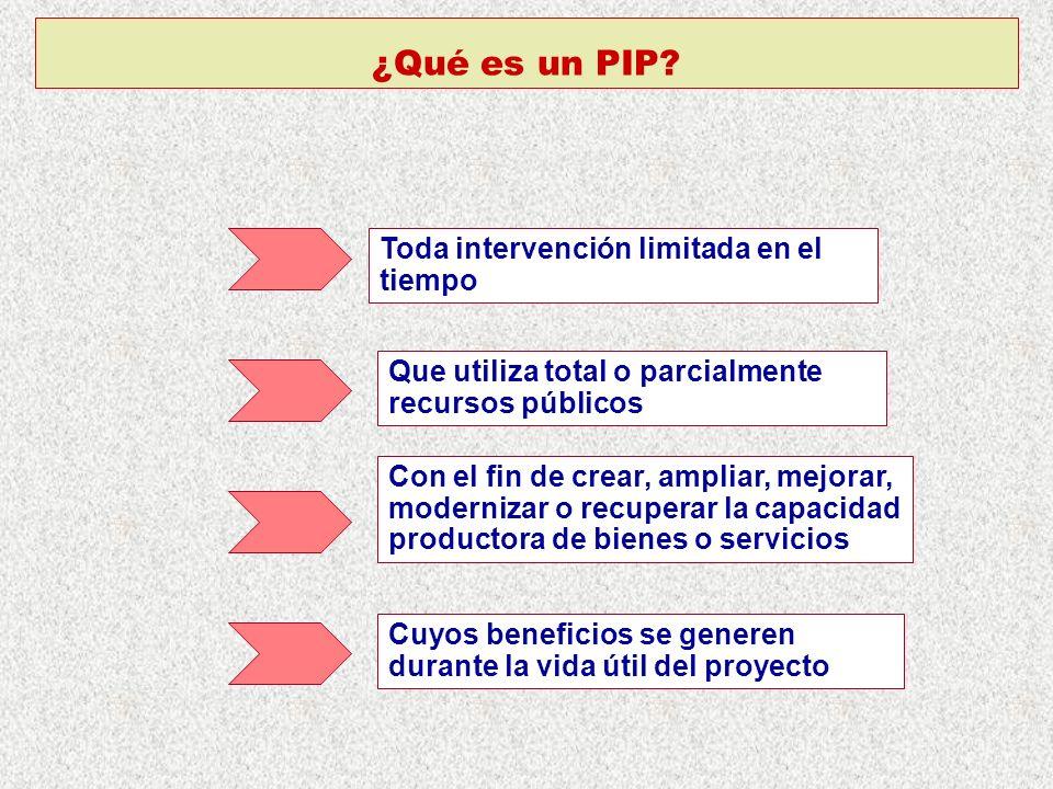 ¿Qué es un PIP Toda intervención limitada en el tiempo