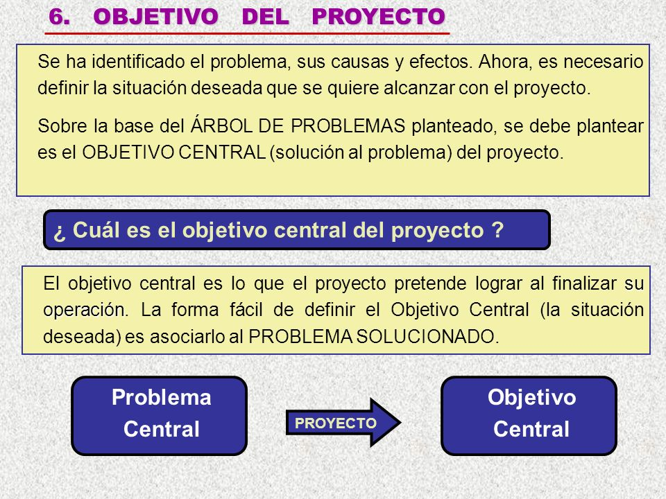 Problema Central Objetivo Central