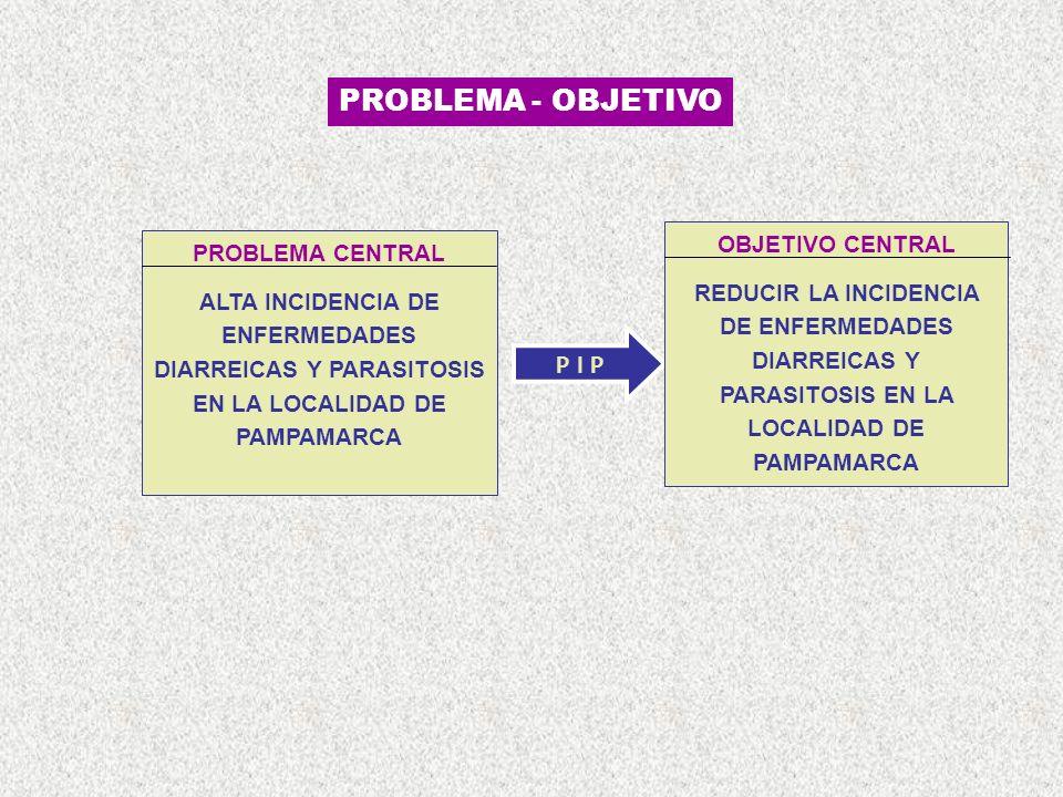 PROBLEMA - OBJETIVO OBJETIVO CENTRAL PROBLEMA CENTRAL