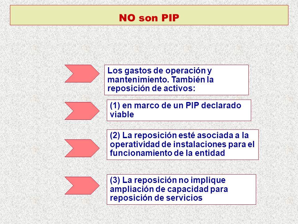 NO son PIP Los gastos de operación y mantenimiento. También la reposición de activos: (1) en marco de un PIP declarado viable.