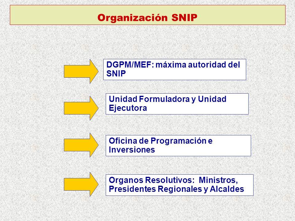 Organización SNIP DGPM/MEF: máxima autoridad del SNIP