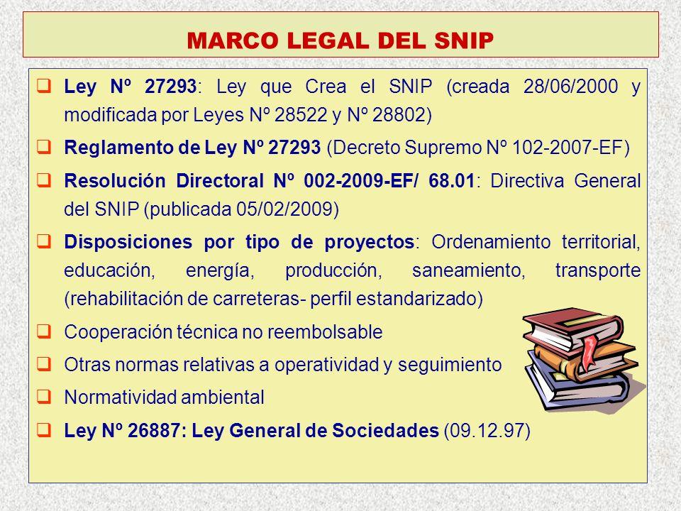 MARCO LEGAL DEL SNIP Ley Nº 27293: Ley que Crea el SNIP (creada 28/06/2000 y modificada por Leyes Nº 28522 y Nº 28802)