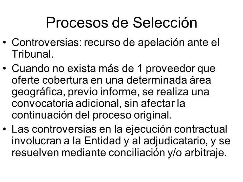 Procesos de Selección Controversias: recurso de apelación ante el Tribunal.