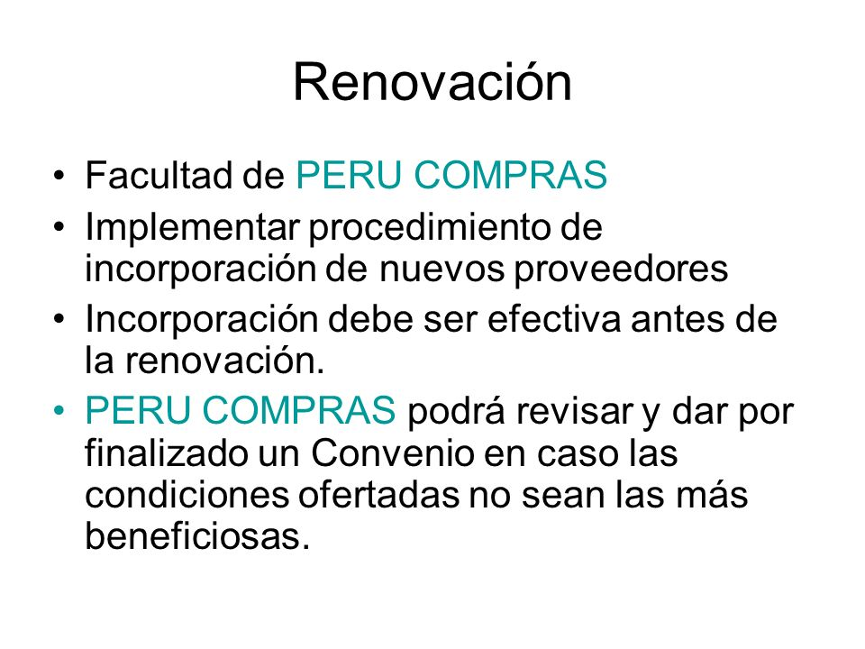 Renovación Facultad de PERU COMPRAS