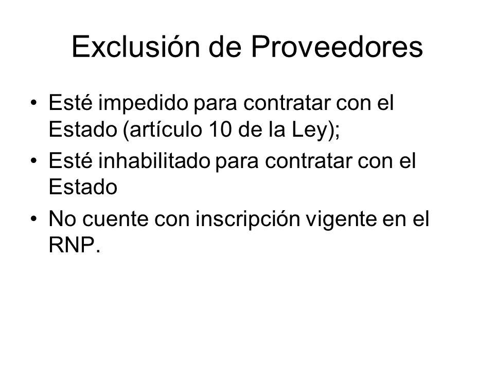 Exclusión de Proveedores