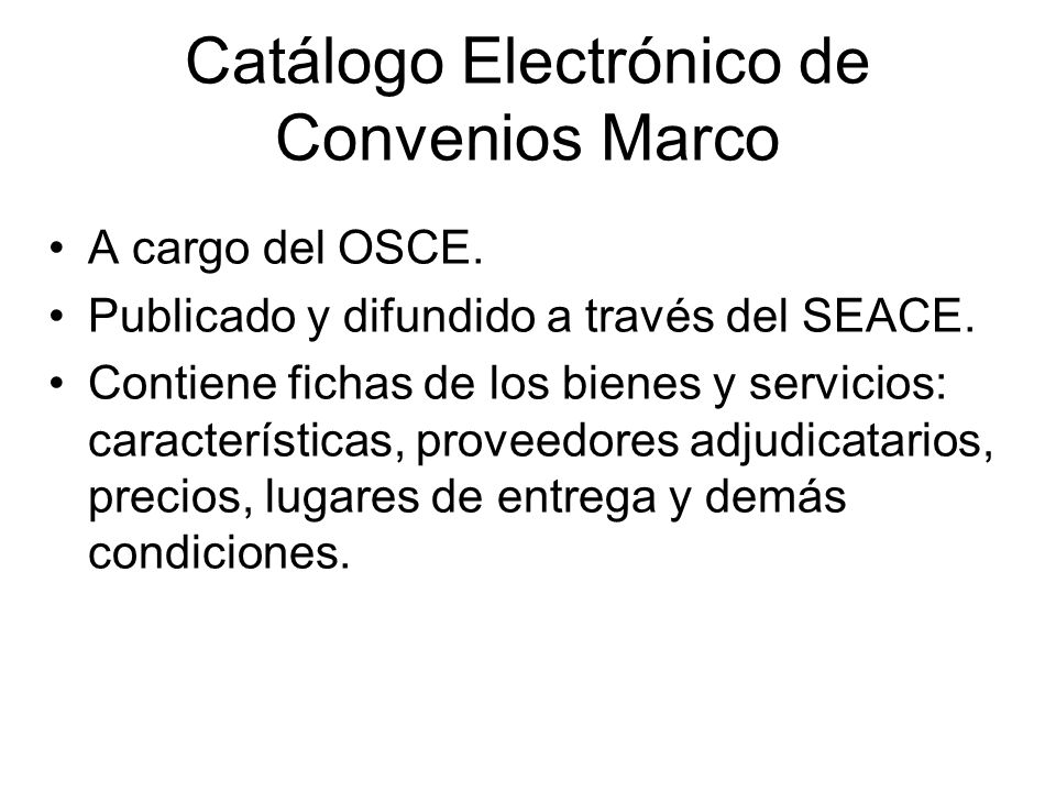 Catálogo Electrónico de Convenios Marco