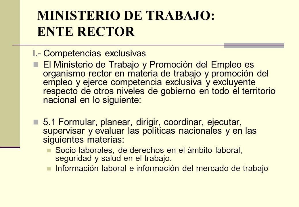 MINISTERIO DE TRABAJO: ENTE RECTOR