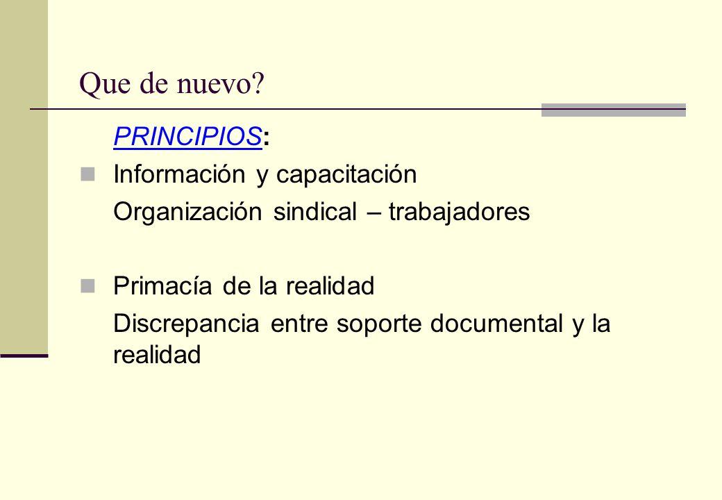 Que de nuevo PRINCIPIOS: Información y capacitación