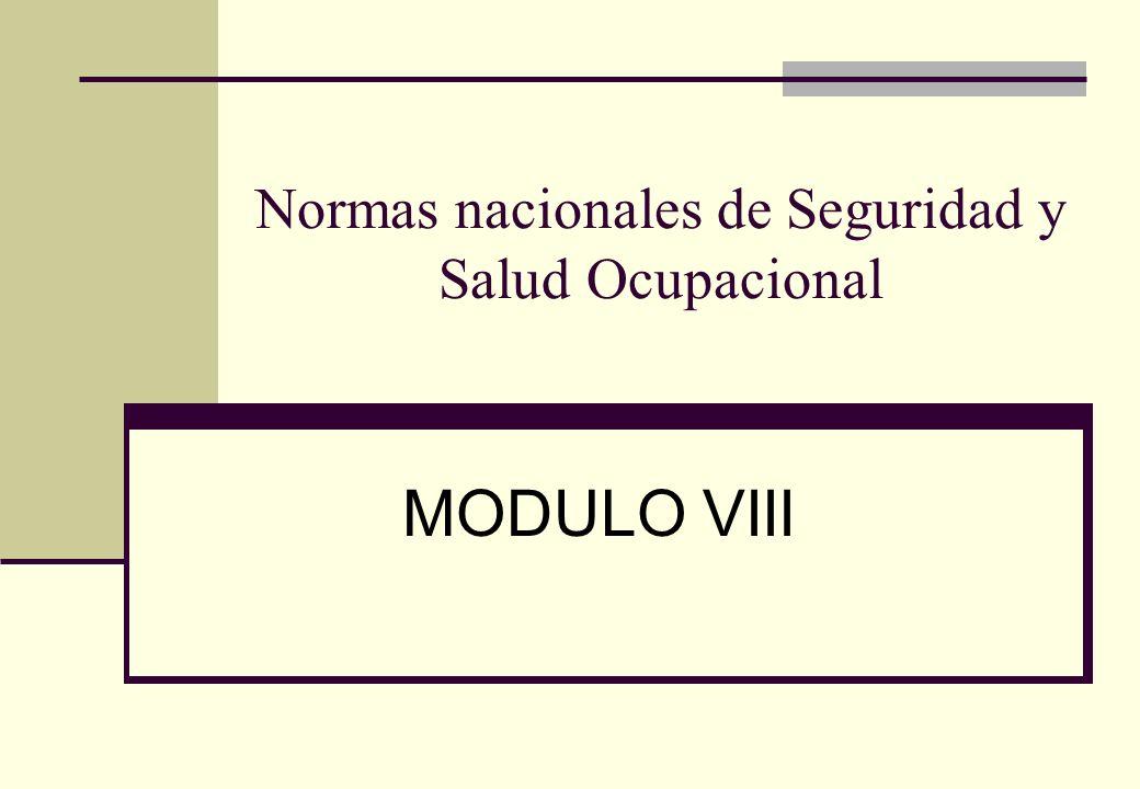 Normas nacionales de Seguridad y Salud Ocupacional