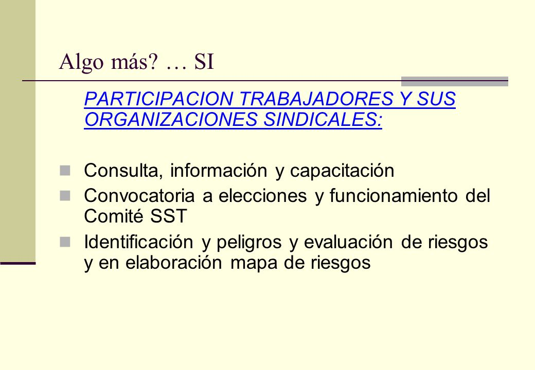 Algo más … SI PARTICIPACION TRABAJADORES Y SUS ORGANIZACIONES SINDICALES: Consulta, información y capacitación.