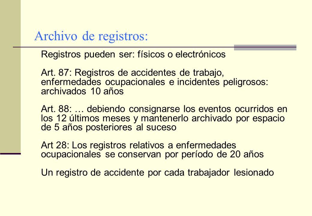 Archivo de registros: Registros pueden ser: físicos o electrónicos
