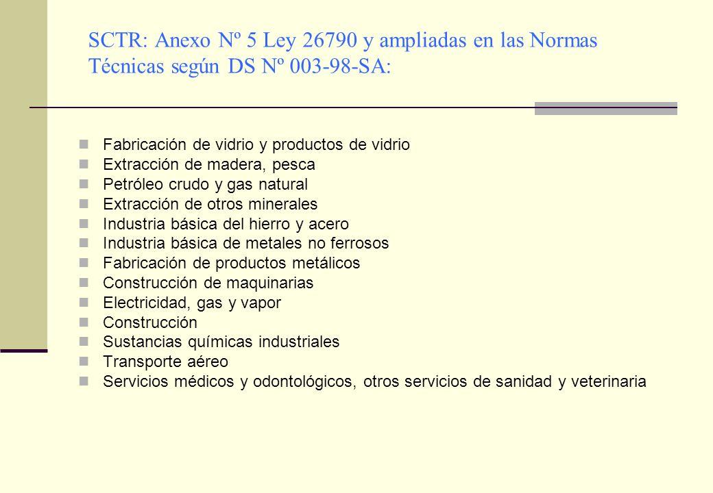 SCTR: Anexo Nº 5 Ley 26790 y ampliadas en las Normas Técnicas según DS Nº 003-98-SA: