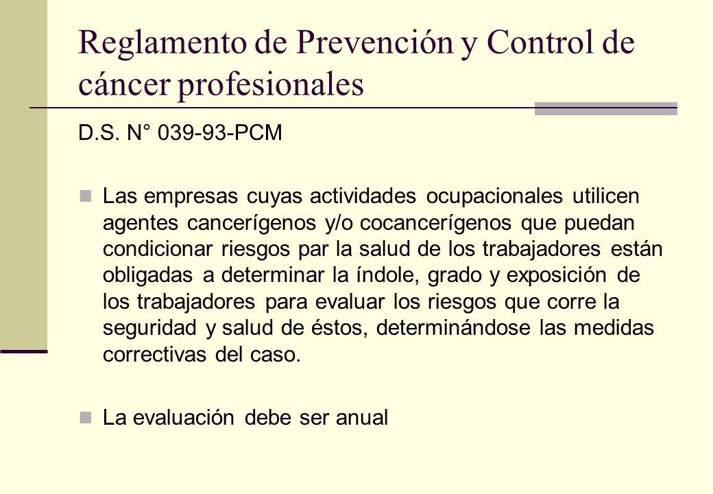 Reglamento de Prevención y Control de cáncer profesionales