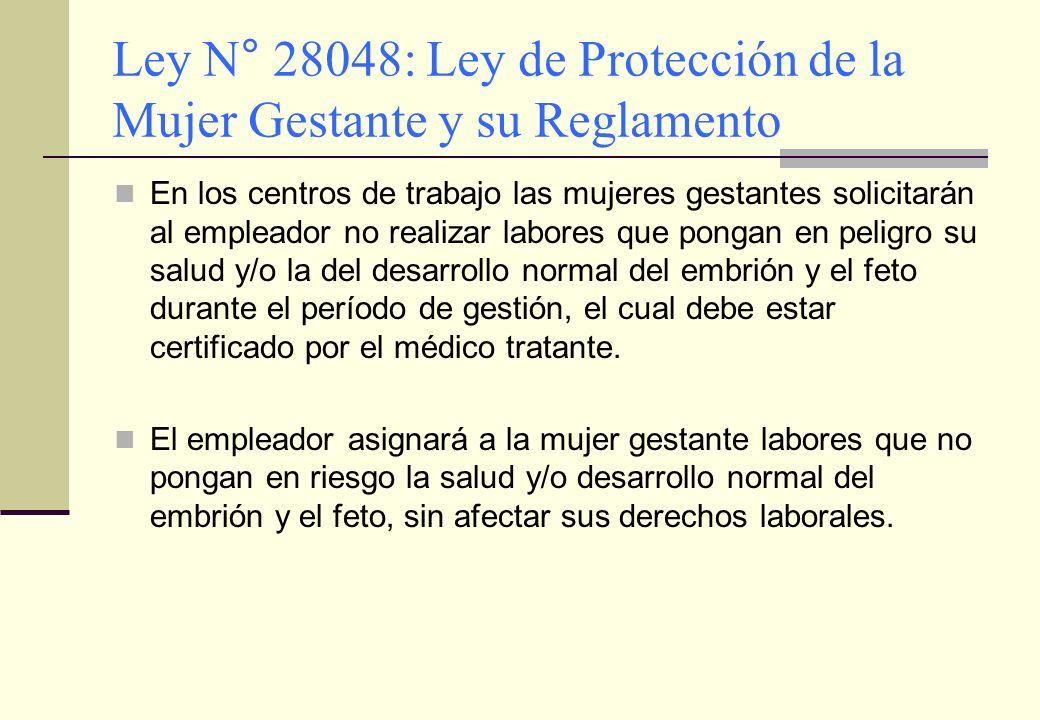 Ley N° 28048: Ley de Protección de la Mujer Gestante y su Reglamento