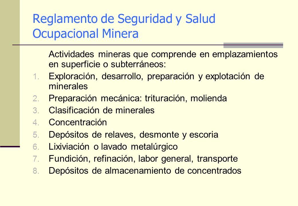 Reglamento de Seguridad y Salud Ocupacional Minera
