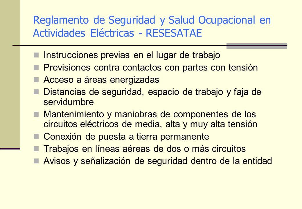 Reglamento de Seguridad y Salud Ocupacional en Actividades Eléctricas - RESESATAE