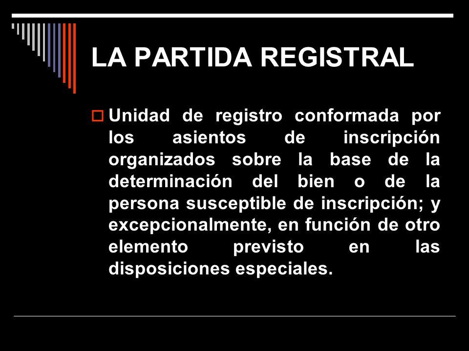 LA PARTIDA REGISTRAL