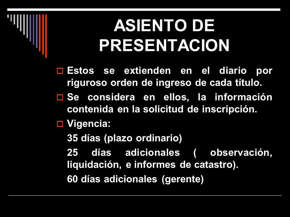 ASIENTO DE PRESENTACION
