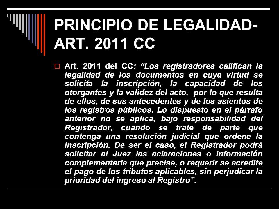 PRINCIPIO DE LEGALIDAD- ART. 2011 CC