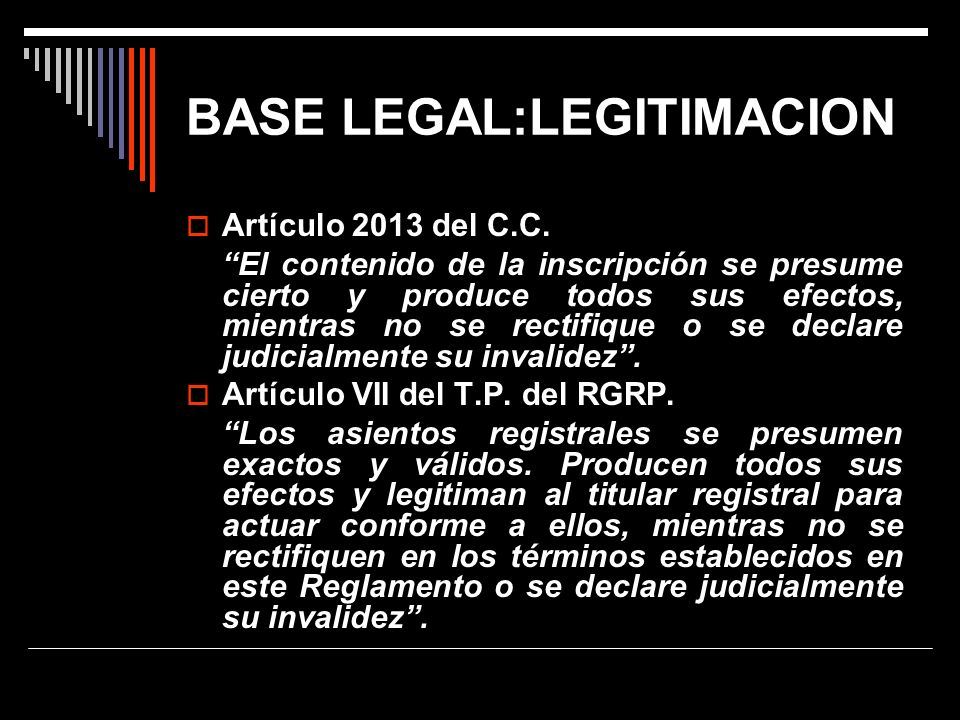 BASE LEGAL:LEGITIMACION