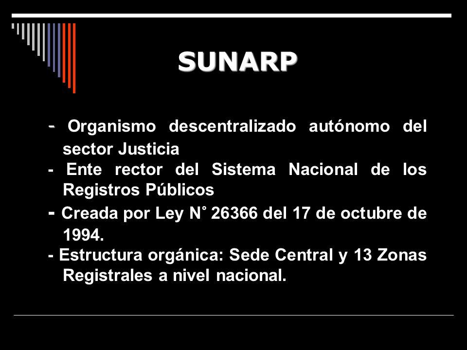 SUNARP - Creada por Ley N° 26366 del 17 de octubre de 1994.