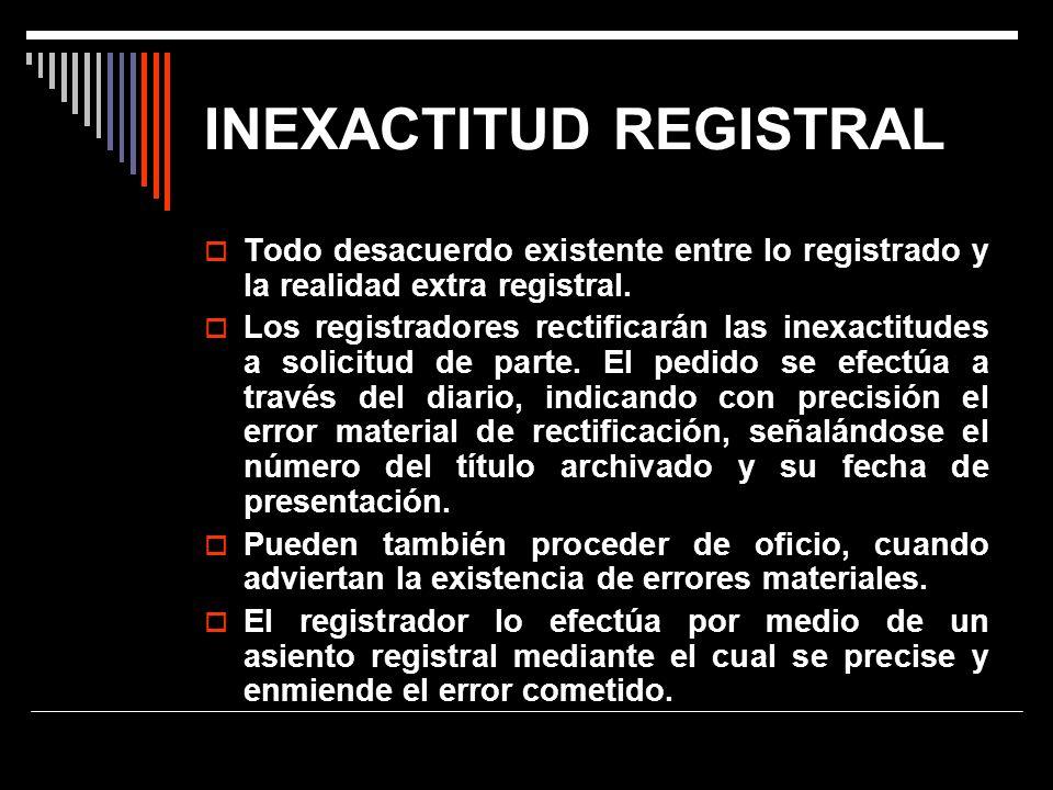 INEXACTITUD REGISTRAL