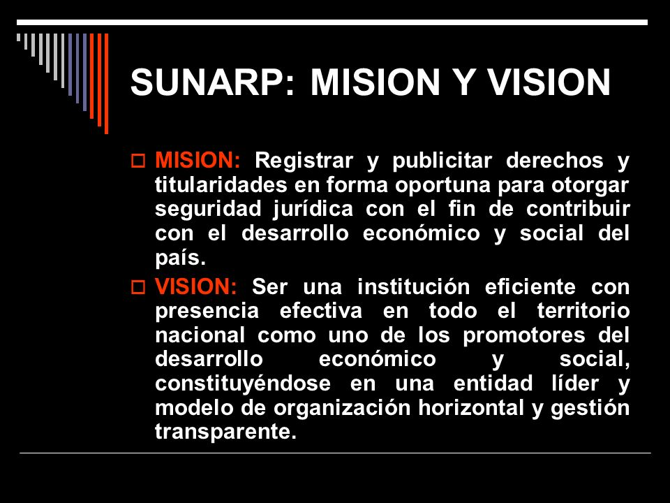 SUNARP: MISION Y VISION